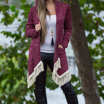Every Morning Fringe Cardigan-Burgundy