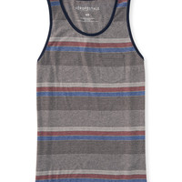 Aeropostale  Mens Striped Pocket Tank Top - Gray, X-Small