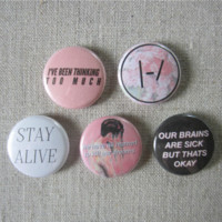 "Twenty One Pilots TOP 5-Pack 1"" Pinback Button Pins"