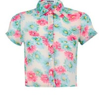 New Look Mobile | Teens Blue Pink and Cream Floral Crop Short Sleeve Shirt