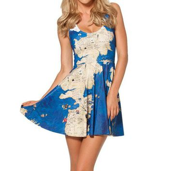 Dress Women's Pleated Casual Print Polyester/Spandex S - 4XL  Harry Potter World Map