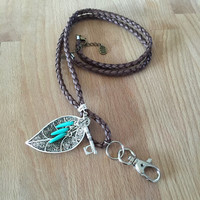 Break away lanyard / Id badge holder. Pick your colours and your charms- faux leather hand braided rope. Customizable