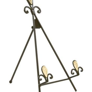 Wrought_Iron_Table_Top_Easel,_Decorative_Tripod_Design,_8-1/4??W_x_14??H_-_Brown_19445