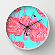 pink flamingo (Lilly Pulitzer style) Wall Clock by uramarinka