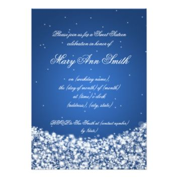 Sweet Sixteen Birthday Party Star Sparkle Blue 5x7 Paper Invitation Card