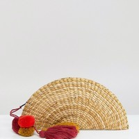 Glamorous Straw Fan Clutch Bag With Tassels at asos.com