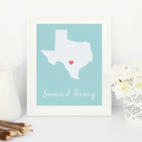 anniversary gift for her, Personalised love map, long distance love, long distance love art, long distance love map, anniversary gift, texas