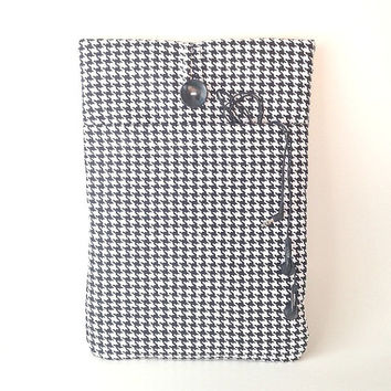 MacBook Air 13 Case, MacBook Pro Retina Sleeve, Black Houndstooth MacBook Pro Cover, 13 . 3 inch Laptop Pouch, Padded Laptop Bag Cord Pocket
