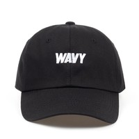Wavy Black Embroidered Unstructured Cotton Dad Hat