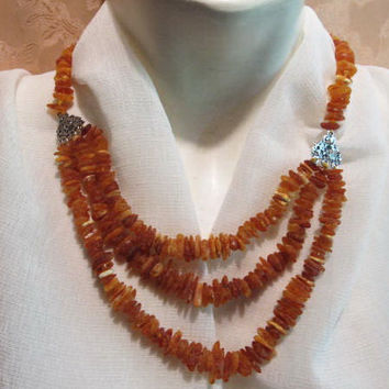 100% Natural Baltic Genuine Amber Necklace raw stones unpolished beads Medical Healing 39.3 gr, opaque Free Form dark brown adult unisex