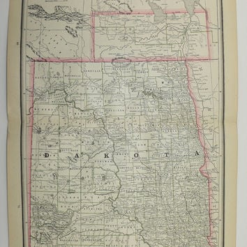 Antique South Dakota Map North Dakota Map From