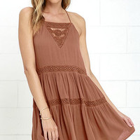 Amuse Society Linnea Brown Lace Dress