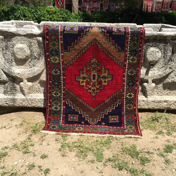 Vintage Red And Blue small size unique all wool anatolian Rug, hand knotted natural wool, area Rug , small floor rug, wall hanging,
