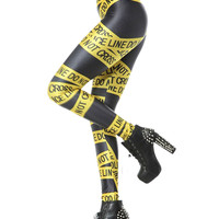 Yellow Warning Line Print Caution Leggings