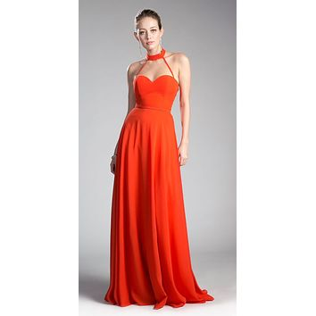 Orange Halter Sweetheart Neckline Long Formal Dress