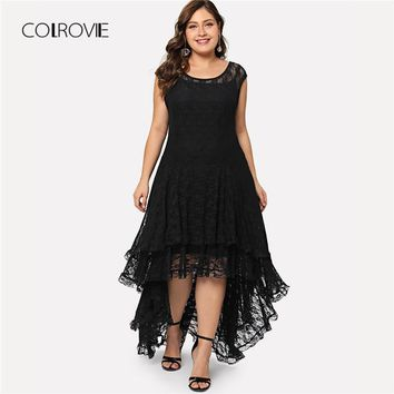 COLROVIE Plus Size Black Backless Dip Hem Layered Floral Lace Dress Ruffle Summer Dress Stretchy Asymmetrical Women Dress