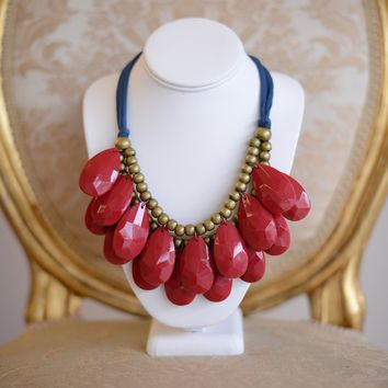 Fabric and Beads Teardrop Necklace