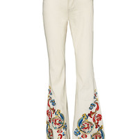 Ryley Lw Rise Embroidered Bell Jeans | Alice + Olivia