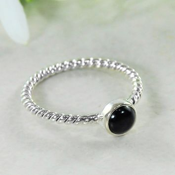 Tara 925 Sterling Silver Ring Black Onyx