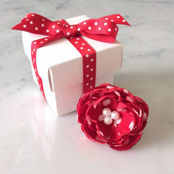 Womens Flower Ring Valentines Day Gifts Adjustable Filigree Retro Ring Jewelry Fabric Flower Red & White Polka Dot Ring Pearls  Hendricks