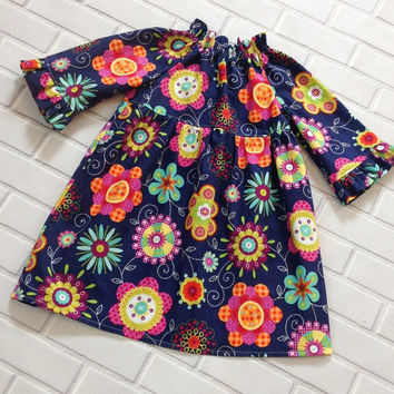 Little girls peasant dress fall winter blue purple orange boutique clothing by Lucky Lizzy's
