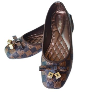 LV Fashion Plaid Letter Buckle Print Women Casual Single Shoes Shallow Mouth Flats Shoes Coffee G