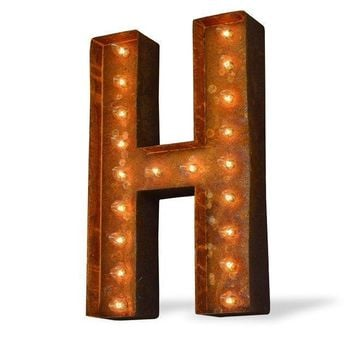 "24"" Letter H Lighted Vintage Marquee Letters (Modern Font/Rustic)"