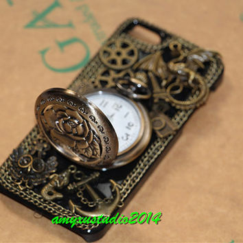 Steampunk antique rose pocket watch iphone 5 5s 5c case,iphone 4 4s case,steampunk case for samsung galaxy s5 s4 s3, galaxy note2 note3