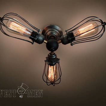 vintage industrial ceiling light 2014 new antique 3 lights iron cage ceiling lamp Edison bulb steampunk handmade lighting CEFAN