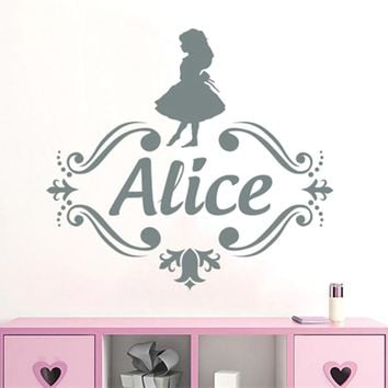 YOYOYU Custom Name Vinyl Wall Decal Kids Nursery Room Decals Girls Personalized Name Wall Sticker Alice in Wonderland DecorSY489