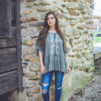 Embroidered Gauze Top in Olive