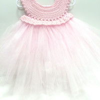 Crochet Top Pink Baby Tulle Tutu Flower Girl Dress Sizes 3 to 24 Months Made in the USA