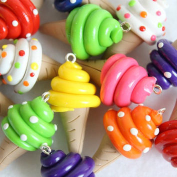 Set of 6 Colorful Ice Cream Charms - Polymer Clay Food Charms