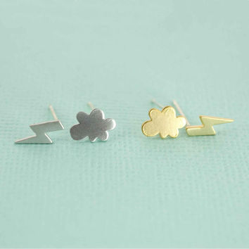 Mismatched cloud and lightning bolt Earrings Simple gold or silver Fall Earrings tiny post earrings tree branch earrings minimalist jewelry