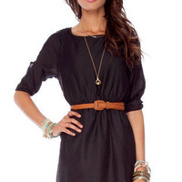 Nina Belted Dress in Black :: tobi