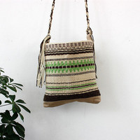 Handmade boho crossbody bag, unique handwoven handbag, handmade purse with fringes