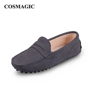 New Driving Loafers Women Flats 2017 Spring Casual Soft Nubuck Leather Slip on Lady Mo