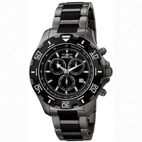 Invicta 6412 Men's Python Gunmetal and Black Tone Stainless Steel Black Dial Chronograph Watch