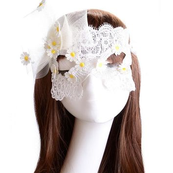 Hot Fashion Sweet 1Pcs Sexy White Lace Eye Mask Flower Masquerade Dream Veil Ball Carnival Fancy Party Dress accessories