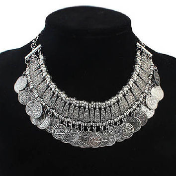 [Free Today] 2016 Promotion Silver Coin Collar Jewelry Gypsy Ethnic Choker