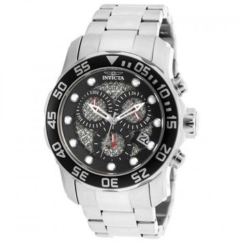 Invicta Pro Diver Chronograph Black Dial Stainless Steel Mens Watch 19836