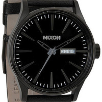 Nixon Sentry Leather Watch in All Black