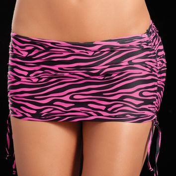 Zebra Pink Animal Print Micro Mini Skirt