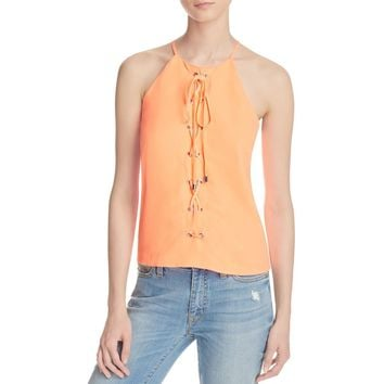 Parker Womens Estella Crepe Lace-up Casual Top