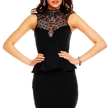 Black Halter Neck Lace Sleeveless And Black Mini Skirt
