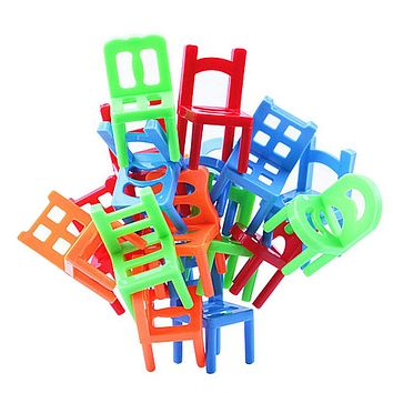 18PCS Plastic Balance Toy Stacking Chairs Desk Play Game Toys Parent Child Interactive Party Game Toys Doll Accessories
