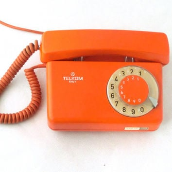 Vintage Orange Rotary Telephone 70s