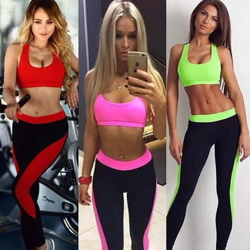 Two 2 Piece Set Women Sport Bra+leggings Workout Gym Cropped Top Skinny Vest Elastic Waist Fitness Tracksuit,tank Top+pant S052