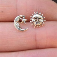 Silver Sun and Moon Stud Earrings from SecondChance