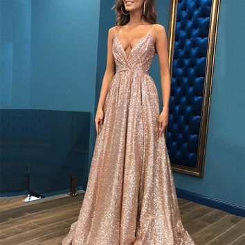 Champagne Straps Glitter Prom Dresses Evening Dress Backless